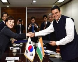 Maharashtra government - Davendra Fadnavis MOU with South Korea