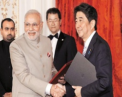 PM and Shinze laid foundation stone of Bullet Train