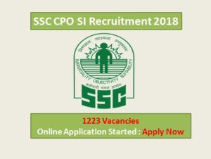 SSC CPO SI 2018 Recruitment